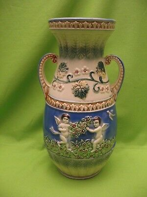 "Vintage Asian Vase - Blue, Green & White - 10.5"" Tall, 6""  Wide - ""Japan"""