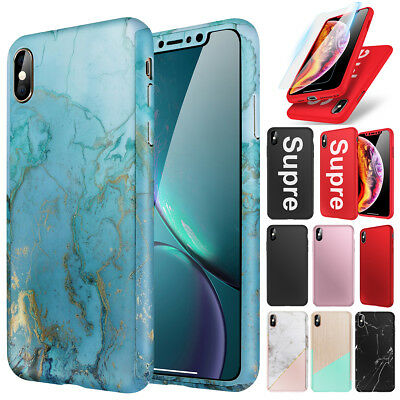iPhone XS Max XR Marble Case 360° Shockproof Protective Cover + Screen Protector