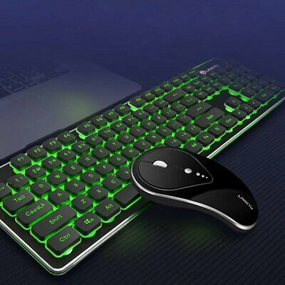 Wireless Keyboard+Mouse Set 2.4G Rechargeable Backlit LED Ergonomic Gaming Mice