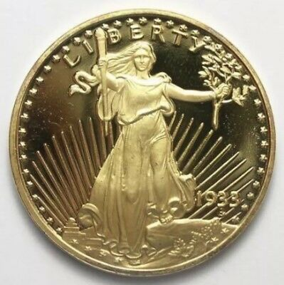 1933 St. Gaudens $20 Tribute Coin 24 KT.GOLD CLAD PROOF W/COA, PLASTIC SLEEVE