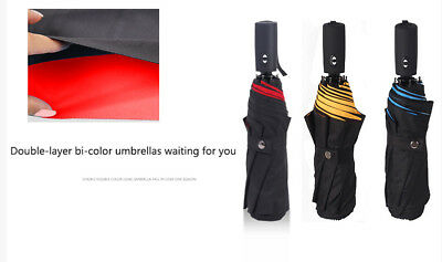 Two-color double-layer 45-inch windproof 8 rib travel umbrella , folding compact