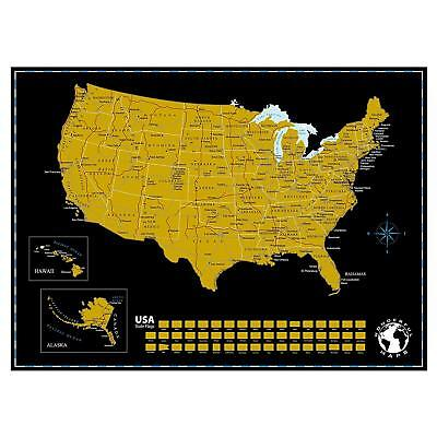 Scratch Off Map of The United States of America State Flags on Black Background.