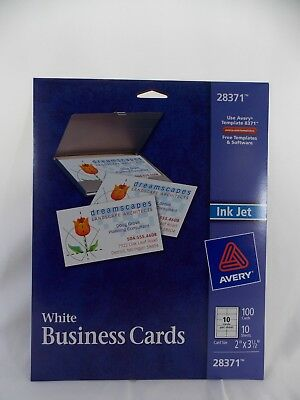 avery business cards 28371 white ink jet 2 x 3 1 2 100 cards