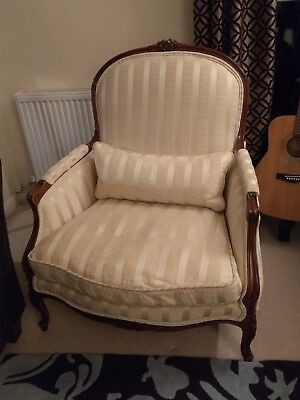 French Louis XV Bergere style Chair, walnut wood covered in  ivory fabric