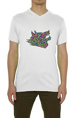 Abstract Wild Wolf Head Artwork Colored Men's T-Shirt V-Neck White (S-XXL)
