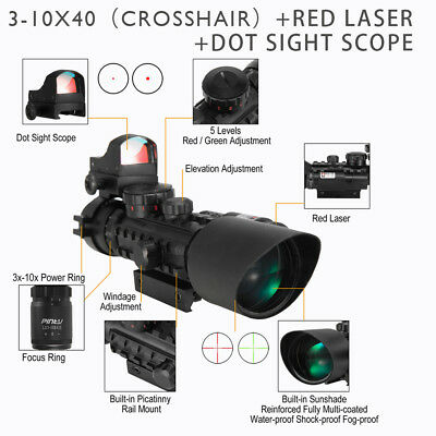 Crosshair Rifle scope 3-10X40EG Combo with Red Dot Sight & Laser Sight