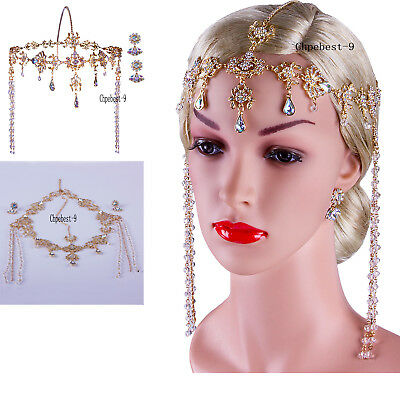 Gatsby Headpiece Earrings 1920s Roaring 20s Crystal Flapper Wedding Accessories