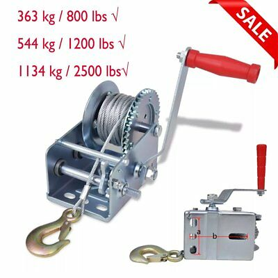 Hand Winch for Boat Car Trailer 800lb 1200lb 2500lb with 10m Cable Heavy Duty