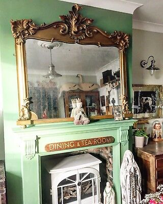 Antique French gilt overmantle mirror,wooden carved,statement,foxing old glass,