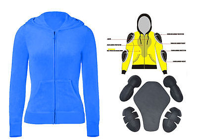 Motorbike Fleece Zip Up Hoodie Womens Blue Sweatshirt Full Sleeves Armoured