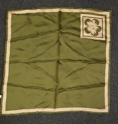 """Vintage silk scarf square 22"""" green hand rolled edges"""