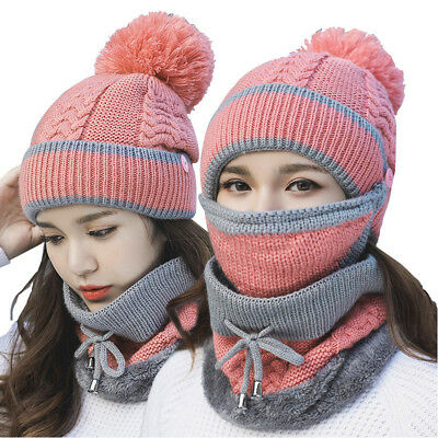 3pc Set Women Winter Warm Pom Hats Cap + Mask Scarf Neck Thicken Plush Knit Gift