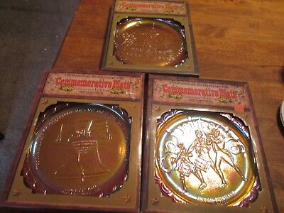 Bicentennial commemorative plates Lot of 3   Indiana glass. Gold carnival glass