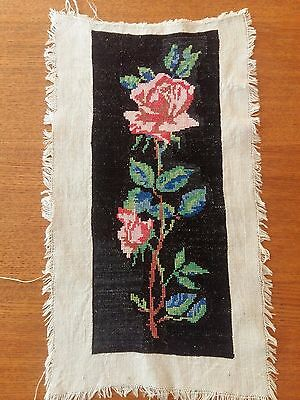 """ANTIQUE Needlepoint Petit Hand Embroidered Tapestry Wonderful Rose 11.5""""x4.5"""""""