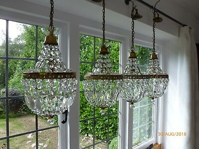 Antique gilt brass and cut glass chandeliers (set of four)