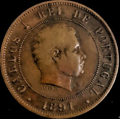 Portugal 20 Reis 1891 Coin, Rare, Carlos 1, First Date of Issue
