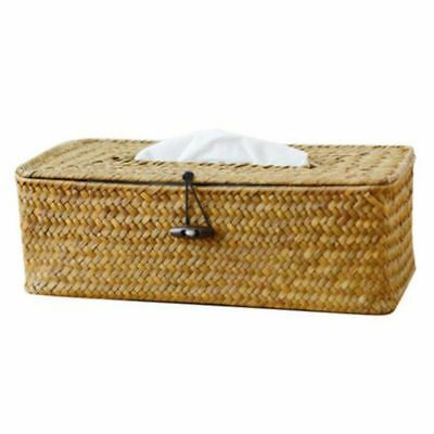 Bathroom Accessory Tissue Box, Algae Rattan Manual Woven Toilet Living Room K9U5
