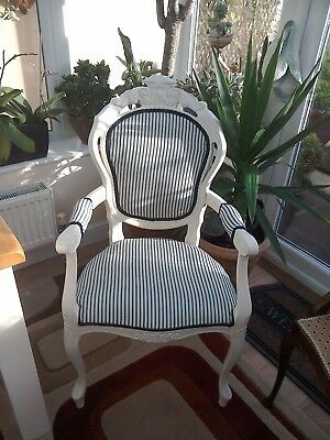CHAIR FRENCH LOUIS CREAM  white NEW NAVY TICKING RE UPHOLSTERED SHABBY CHIC