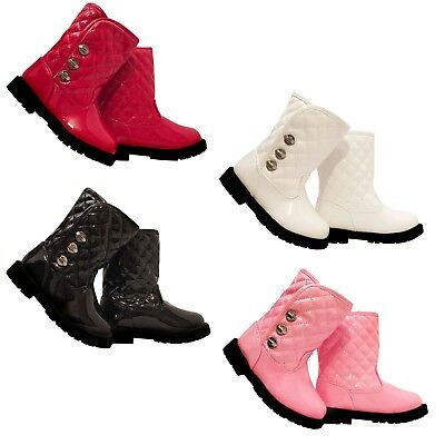 Infant Girls Party Patent Ankle Winter Strap Up Boots,Sizes 3-7 Kaka5