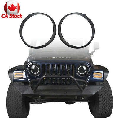 2Pcs Front Headlight Guard Cover For Jeep Wrangler TJ 97-06 Glossy Black ABS