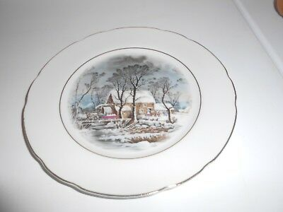 Avon Currier And Ives Cookie Plate - Representative Exclusive 1977 - Gold Trim