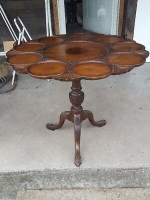George III Style Tilt-Top Table Scallop Carvings