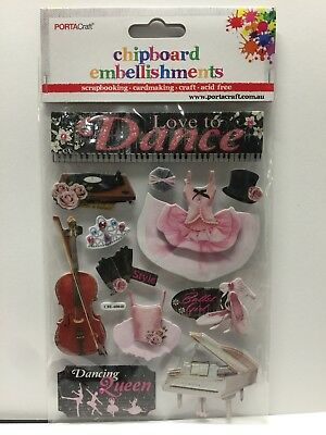 New - Love To Dance - Chipboard Embellishments - 11 Pack -Card Making -Acid Free