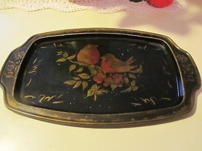 Antique Tole Painted Tray Cardinals