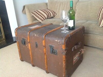 Vintage  Cunard Bentwood Cabin Travel Steamer Luggage Trunk/Coffee Table