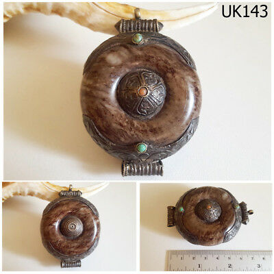 ANCIENT Natural Brown Agate Bead Decorated SILVER Cap Handmade Afghan #UK143