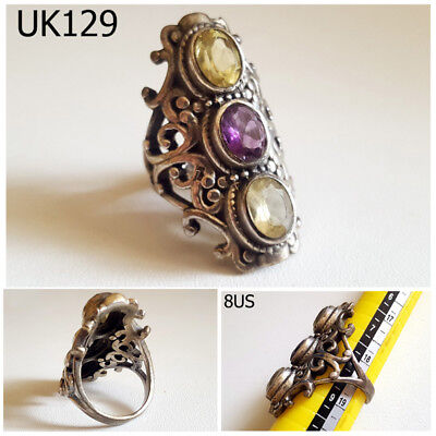 Victorian Style GENUINE Amethyst Citrine Gemstone Silver Ring Size 8US #UK129