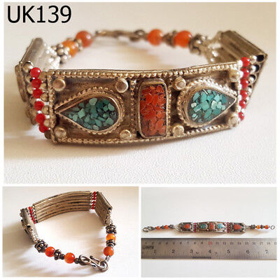 Old Stunning Nepal Tibet Turquoise & Red Coral Silver Mix Bracelet #UK139