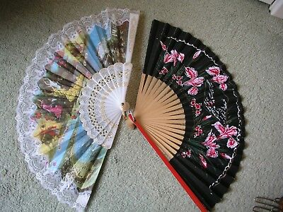 Two hand held fans, one Spanish in plastic & fabric, one paper, Japanese style