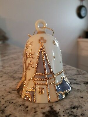 Antique Ceramic Unique Gold Christmas Holiday Winter Bell Tree Ornament NEW