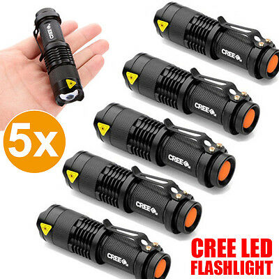 5xQ5 LED Zoomable Adjustable Focus Bright Flashlight Torch 2000LM Light AA/14500