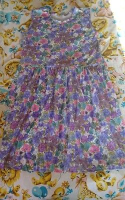 Vintage 70s 80s Day dress. Size 16 18 20 Purple flowers Retro Mod