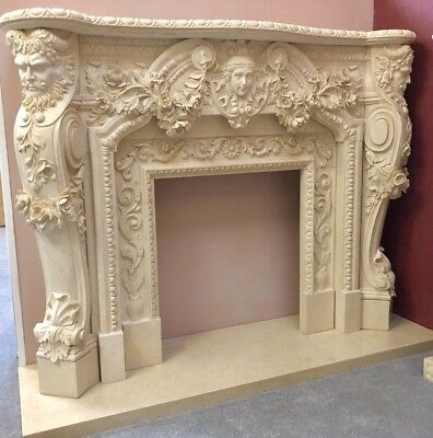 Bespoke Solid Marble Gods Fireplace Fire Surround Hand Carved Amazing  Mantle