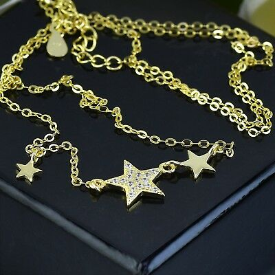 925 Sterling Silver Necklace Iii Star With Zirconia  - Yellow Gold Plated