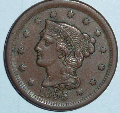 1855  Braided Hair Large Cent up for Auction  Better Grade (Ungraded)    ( A191)