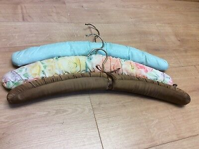 3 Vintage coat hangers floral fabric covered padded