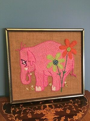 Vintage Antique Retro Pink Elephant Yarn On Burlap Picture 1970s