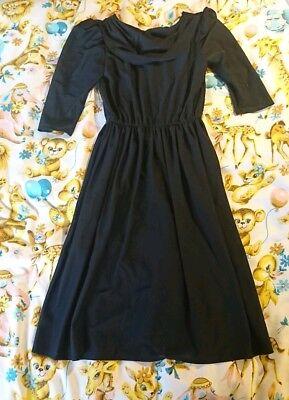 Vintage 80s Polyester Black dress. Size 12 Party, Retro Shoulder Pads goth SALE