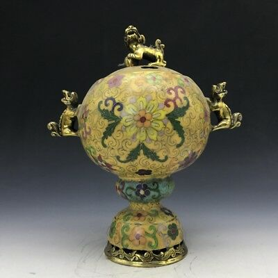 Collect Chinese cloisonne incense burner carving god beast.   b254
