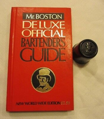 1974 Mr. Boston Deluxe Official Bartender Guide Book and shot cap