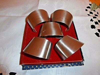 """SET of 5 VINTAGE 1970's STAINLESS STEEL NAPKIN/SERVIETTE RINGS by NUTBROWN"""""""