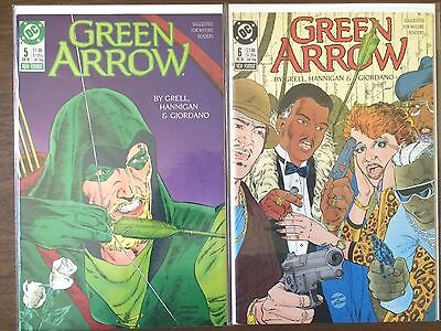 "Green Arrow #5 #6  (DC 1st Series 1988)  ""Gang Wars Part 1-2""   Mike Grell    VF"
