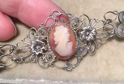 Beautiful Vintage Art Deco Filigree Silver And Shell Cameo Bracelet Signed