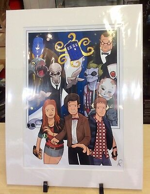 Doctor Who The Eleventh Doctor Mounted Art Print - Signed By Grant Perkins