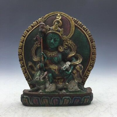 China antique Tibetan Buddhist manual hand-carved turquoise Fortuna riding a486