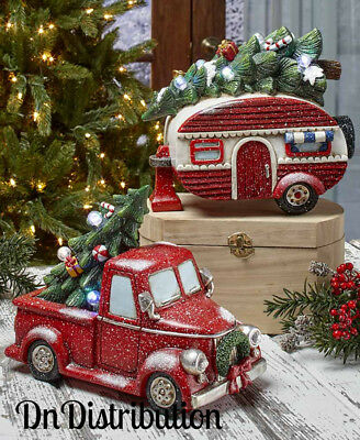 Vintage Old Fashioned Look LED Lighted Christmas Figurine Red Truck and Camper